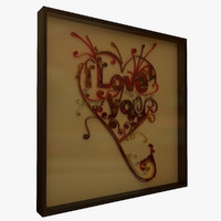 3d quilted love 1 frame model