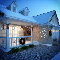 3ds max snow christmas house