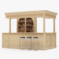 bar counter 3d obj