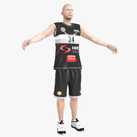 basketball player rigged character 3d max