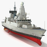 hms dauntless d33 type 45 3d model