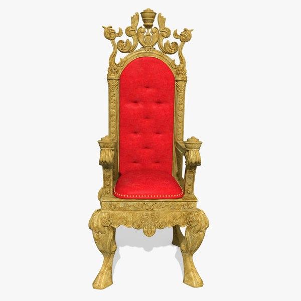 Gold kings chair - 3d King S Throne Chair