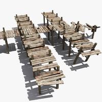 3d model wooden pier constructor