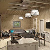 wooden house interior 3d obj
