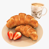coffee and pastry 3D models