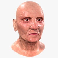 3d old woman head model