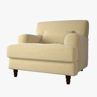 biege soft armchair 3d model