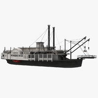 historic paddle steamer river 3d model