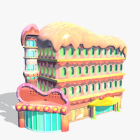 3d cartoon building toon model