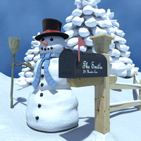 Winter Scene with Snowman and Mailbox
