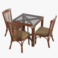 Rattan Table & Dining Chair Set