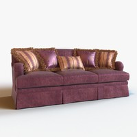 sofa modeled pillow 3d obj