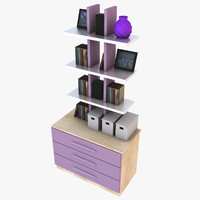 3d compact bookshelf furniture books model