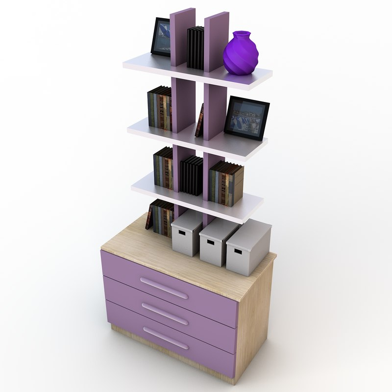 Wonderful image of Bookcase With Two Shelves 3d Model 3d Furniture Models Amp Download  with #6C21AA color and 1600x1600 pixels