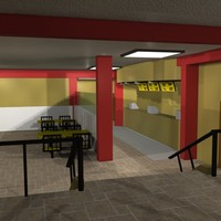 free fast food restaurant 3d model