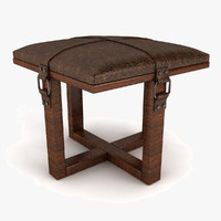 leather padded stool obj