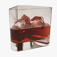 3d glass whiskey ice cubes model