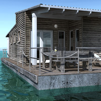 modeled floating house 3d 3ds
