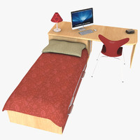 3d bed desk set model