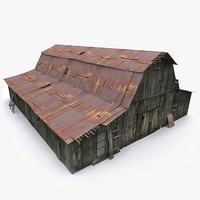 3d model of photorealistic old barn
