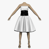 dress white female mannequin 3d max