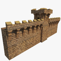 3d realistic medieval wall tower model