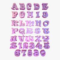 alphabet letter characters c4d