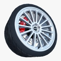 3d volkswagen r32 wheel tire