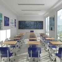 3d classroom render 2