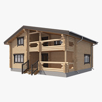 3d log house model
