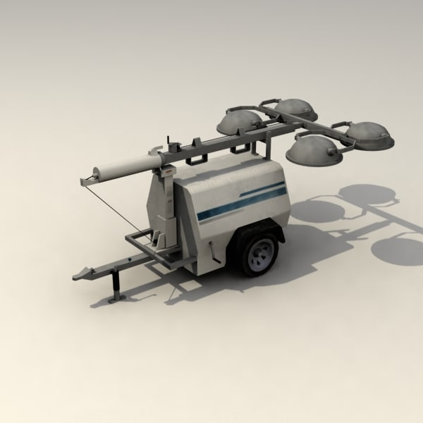 Compact Mobile Construction Light Tower 3d Model