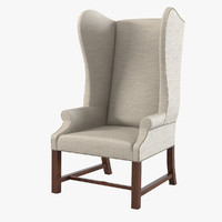 3dsmax french upholstered wing chair