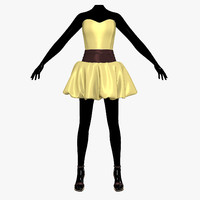 dress balloon female mannequin 3d model