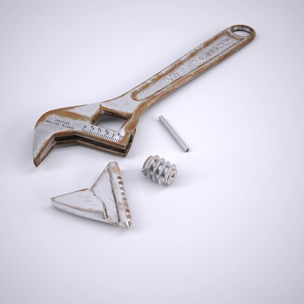 3d model old rusty adjustable wrench - Rusty Adjustable Wrench... by Ykay