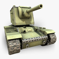 soviet tank kv2u c4d