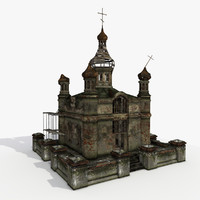 3d church temple building model