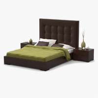 3d bed walnut wood model