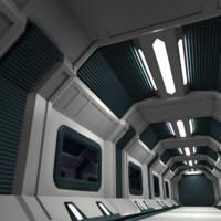 maya futuristic corridor