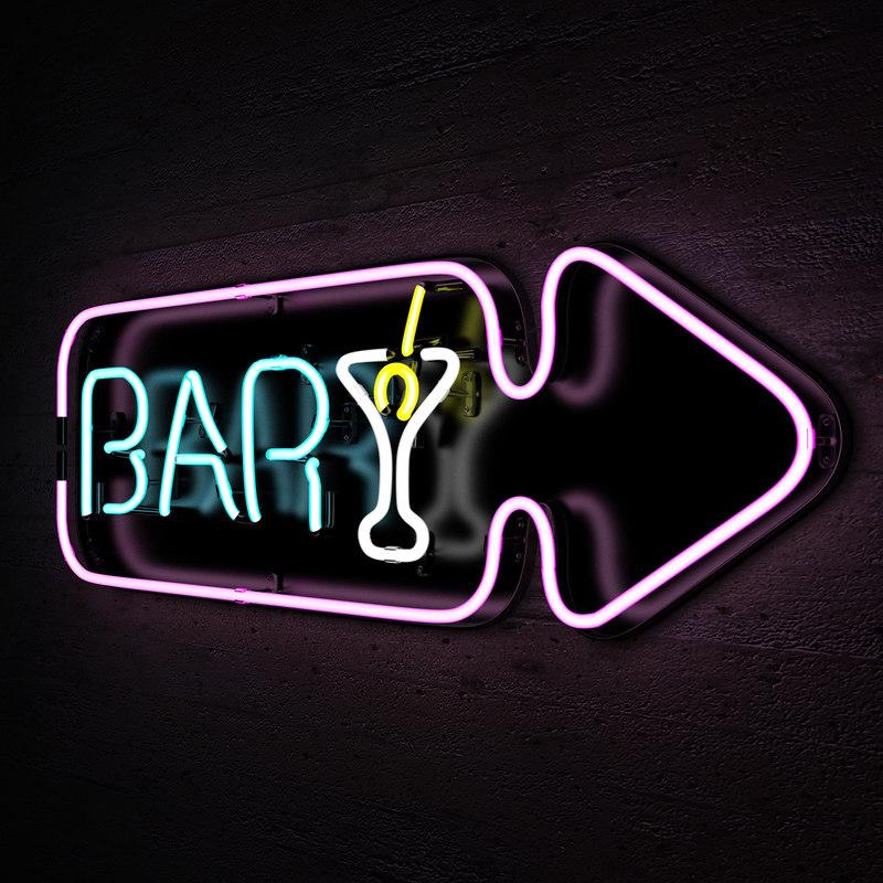bar neon sign lights 3d obj light models turbosquid success fluorescent 3ds fbx sign2