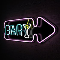 neon lights bar sign 3d obj