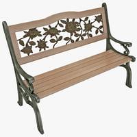 3d iron park bench