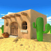 cartoon mexican house 3d model