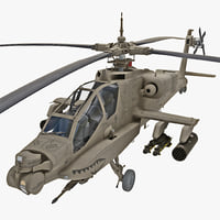 max ah-64 apache rigged helicopter