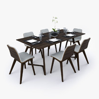 3d c4d dining table set