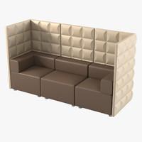 kuadra sofa kartell srl 3d model