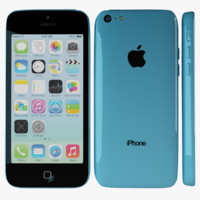 apple iphone 5c blue 3d max