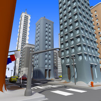 cartoon city: town city 3d model
