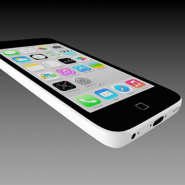 3d apple iphone 5c white. Black Bedroom Furniture Sets. Home Design Ideas