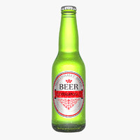 beer bottle water droplets 3d model