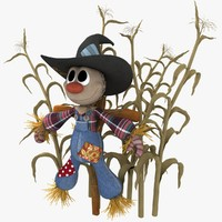 3d model of cute plush style scarecrow
